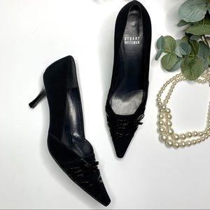 Stuart Weitzman Black Laced Pointed Toe Heels 9
